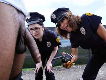 Massive black cock makes police officers Lyla Lali and Norah Gold kneel