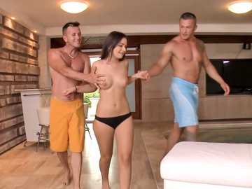 19 year old brunette Anina Silk is out for a holiday threesome romance