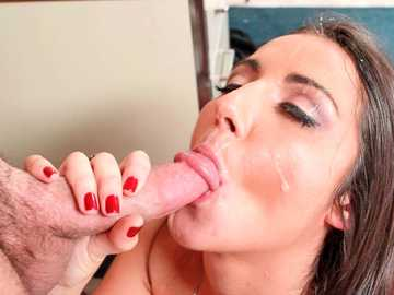 Hot raven head Lily Adams is pounded by her boss doggy style