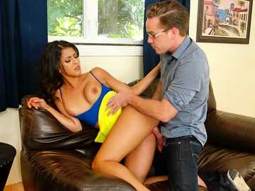 Real estate agent Sophia Leone takes fat white cock up her throat and cunt