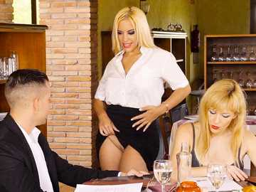 Curvaceous blonde Blondie Fesser shows her shaved pussy to client and sucks penis under the table