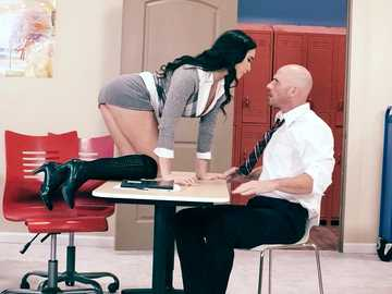 Frisky student girl Karlee Grey gets her tits sucked by Johnny Sins and then swallows his penis