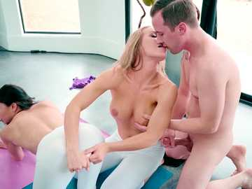 Lusty babe in white yoga pants Ariana Marie and Nicole Aniston combine exercises with sex