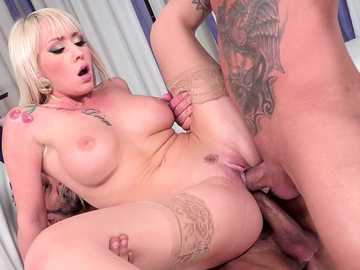 Hungarian with big fake tits Christina Shine gets double penetration scene