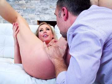 Keiran Lee gives busty blonde Brett Rossi one final pussy fucking farewell