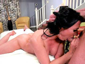 Rachel Starr is a filthy cheating wife, throat fucking with her masseur