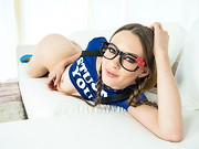 Slender, pigtailed schoolgirl Alexa Nova is a bespectacled cutie in a tiny, pleated skirt. ...