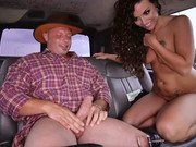 Curly brunette Victoria Banxxx gets down on a guy in the bang bus