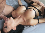 Wonderful dark haired lady Jasmine Jae sucks s a big dick