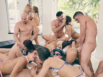 House is packed with naked girls, one of which Monique Alexander, where they get fucked and licked