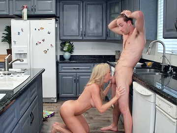Brandi Love makes her stepson fuck her mature trimmed pussy in the kitchen