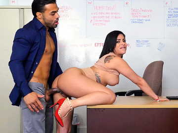 Sneaky manager gets to fuck Latina Kitty Caprice doggy style in his office