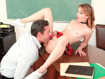Small-titted student girl in short skirt Kristen Scott takes professor into her vagina