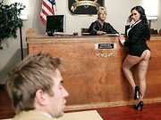 Sleazy defense lawyer Danny D and his client Tony Lucci enter the courtroom confident of ...