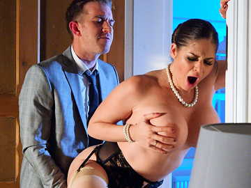 Busty Cathy Heaven in sexy lingerie takes huge boner of her hubby in suit