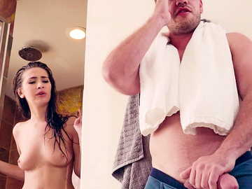 Kyle checks upon his hot stepsister Olivia Nova and finds her fucking pink dildo in the shower room