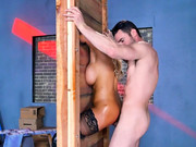 Dirty sexual fantasies of blonde Bridgette B takes real shapes in this anal flick