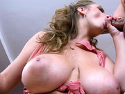 Busty gal Sun Suzie does wonderful blowjob & titjob with neat balls licking