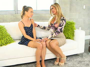 Nina Dolci and helps her naughty stepdaughter Anya Olsen with pussy fingering