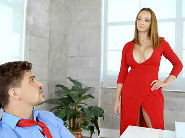 Lucky guy gets fucked by the angered boss in red dress Lexi Luna
