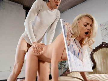 Russian angelface Elizabeth Romanova enjoys huge dick in painting class