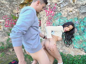 Cute French gal Clea Gaultier has her anal hole stretched with big cock outdoors