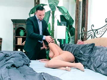 Poor wife Chloe Amour gets through throat fucking for her husband's debts