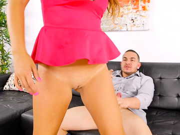 Latina MILF Isabel stretches her shaved pussy on a big cock of a gentleman