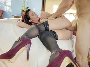 Slutty red-haired wife Tory Lane sucks dong of Tommy Gunn under the table