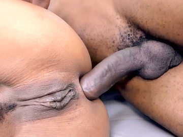 Brilliant Ebony Kira Noir gets her pussy and asshole penetrated by black dude