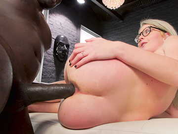 Lovely European whore Sara Bell gets her anus destroyed with a huge black dong