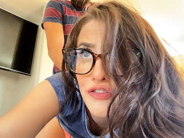 Voracious gal with glasses Aubree Valentine blows dick before fucking it