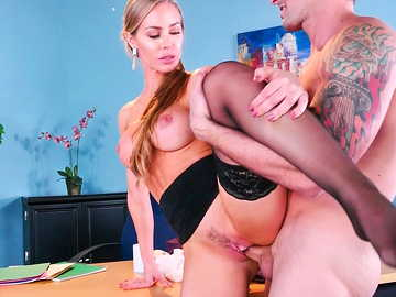 Big tits boss Nicole Aniston dominates her employee pussy fucking in office