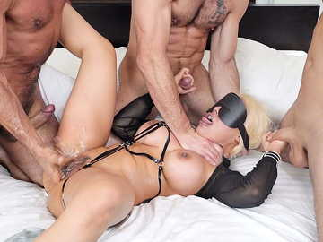 Luna Star is blind-folded and shared by the three hungry dudes with huge wangs