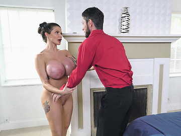 Super-hot MILF with giant tits Joslyn James uses younger neighbor's dick