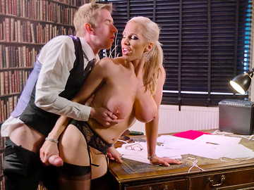 Busty business woman Rebecca Moore is being supportive in hardcore video