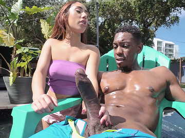 Fragile Latina Kira Perez chokes on a really immense black boner by the pool